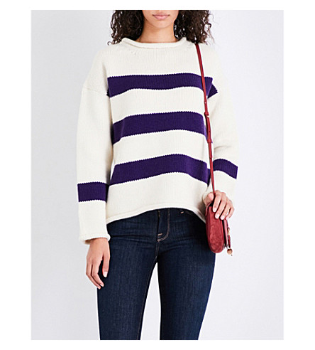MIH JEANS Yardley striped wool and cashmere-blend jumper (Buttermilk/grape