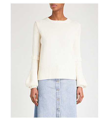 MIH JEANS Lesson knitted cotton jumper (Cream