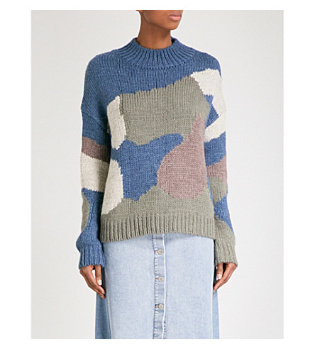 MIH JEANS Camouflage-pattern knitted jumper (Earth+blue