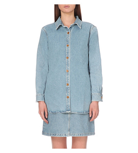 MIH JEANS loose denim longline shirt (Blue+jean+wash