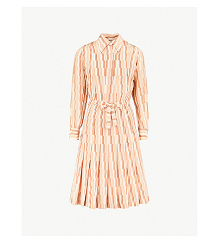 MIH JEANS M.i.h Jeans x Bay Garnett Golborne Road Vintage geometric-print silk dress (Cream