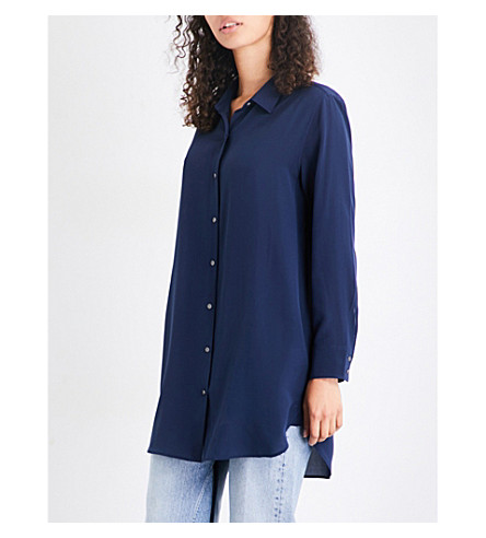 MIH JEANS Oversized silk-crepe de chine shirt (Navy+nvy