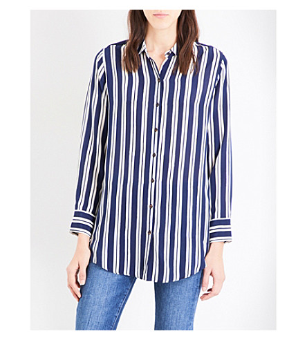 MIH JEANS Simple silk-crepe de chine shirt (Finnish+stripe
