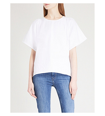 MIH JEANS Mina striped cotton-poplin top (White