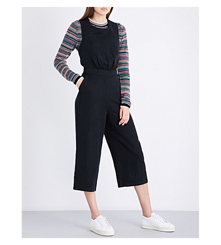 MIH JEANS T2 cropped linen-blend jumpsuit (Black+blk