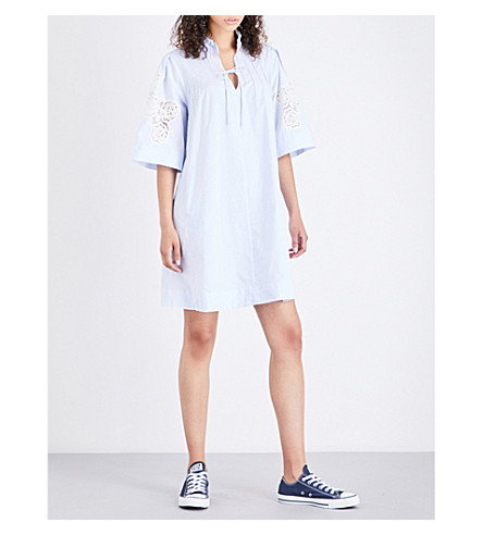 MIH JEANS Langley cotton and linen shirt dress (Blue+stripe+blr