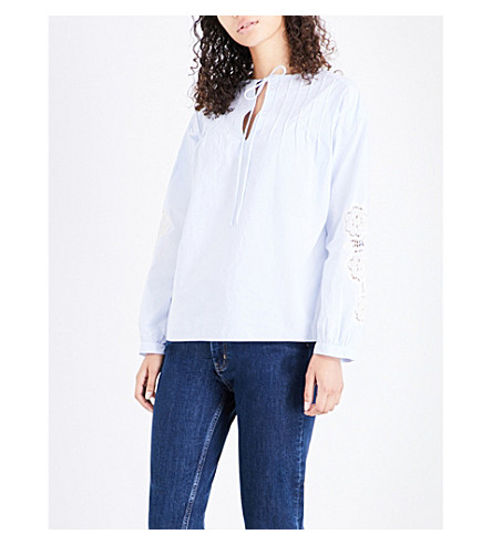 MIH JEANS Veron cotton blouse (Blue+stripe+blr