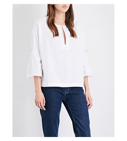 MIH JEANS Katty ruched-sleeve cotton top (White+wht