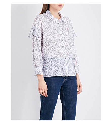 MIH JEANS Baylis ruffled-sleeve cotton-voile shirt (Doorway+print+dpr