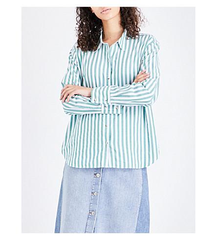 MIH JEANS Striped cotton shirt (Portobello+green+ptg