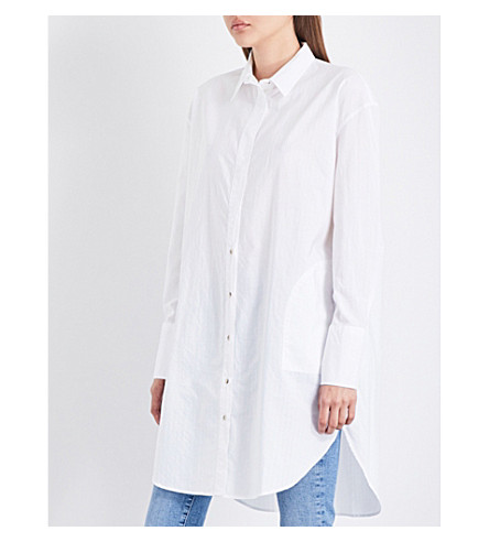 MIH JEANS Tirangle striped cotton shirt dress (White+wht