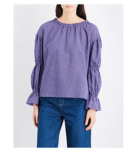 MIH JEANS Bubble gingham cotton-blend top (Violet