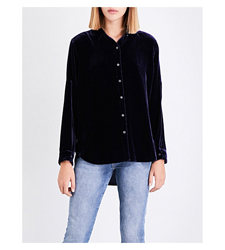 MIH JEANS Rhonda long-sleeved velvet shirt (Violet+indigo