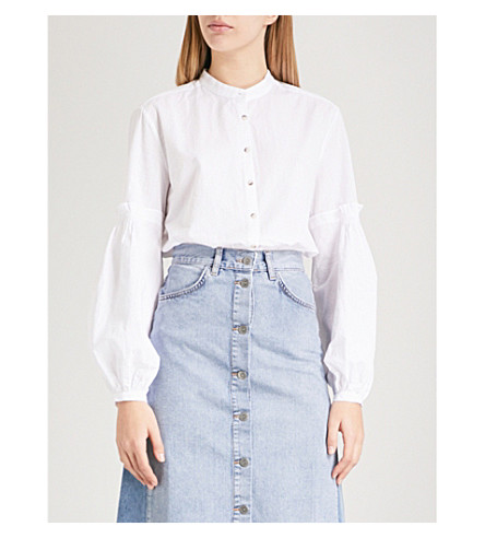 MIH JEANS Esther cotton-seersucker shirt (White
