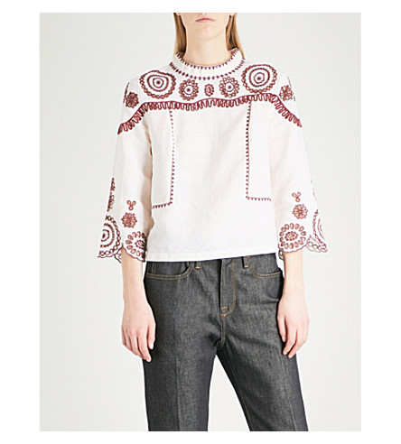 MIH JEANS Edelson open-embroidery cotton-blend top (Off+white/red+apple