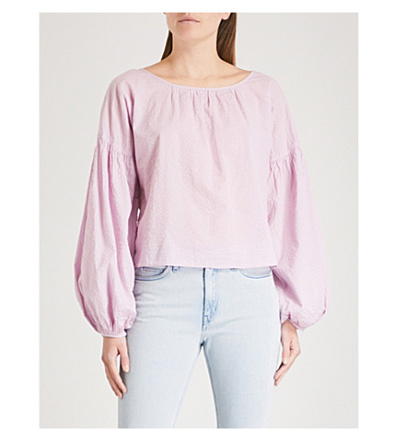 MIH JEANS Anneke cotton-gauze top (Lupin