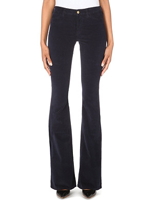 MIH JEANS Marrakesh velvet flared mid-rise jeans
