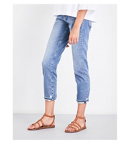 MIH JEANS Tomboy skinny boyfriend mid-rise jeans (Raggy+rag