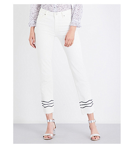 MIH JEANS Daily embroidered-detail straight high-rise jeans (White