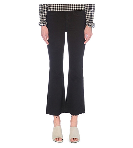 MIH JEANS Lou flared cropped mid-rise jeans (Ob+black