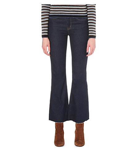 MIH JEANS Lou flared cropped mid-rise jeans (Rinse