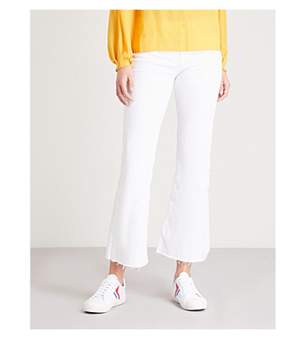 MIH JEANS Lou flared cropped mid-rise jeans (White