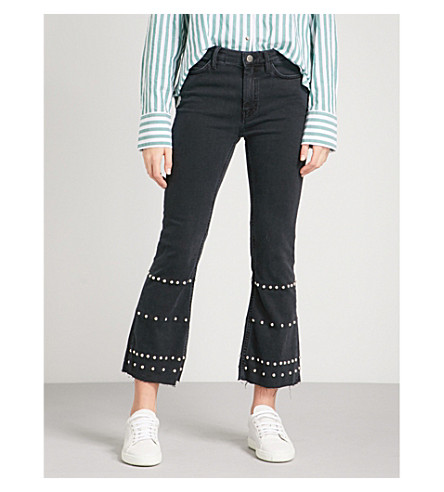 MIH JEANS Marty flared high-rise jeans (Naval