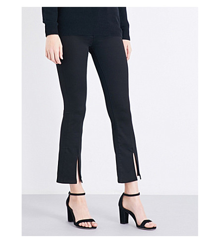 MIH JEANS Marrakesh split-hem flared high-rise jeans (Power+black
