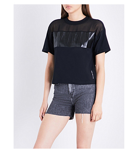 CALVIN KLEIN Teco-3 cotton-jersey T-shirt (Ck+black