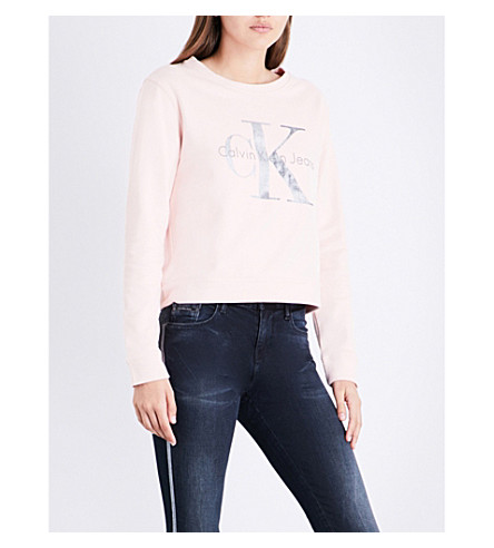 CALVIN KLEIN True Icon cotton-jersey sweatshirt (Peachy+keen