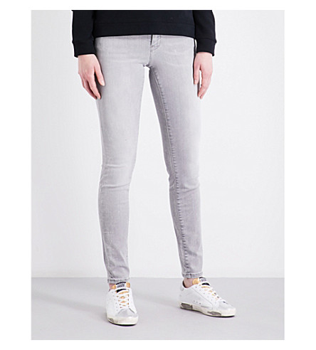 CALVIN KLEIN Slim-fit mid-rise jeans (Soft+stone