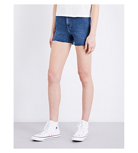 CALVIN KLEIN High-rise Cut-off denim shorts (Vintage+mid