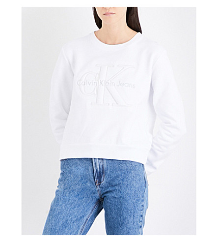 CALVIN KLEIN Harper True Icon cotton-jersey sweatshirt (Bright+white