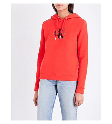 CALVIN KLEIN Honor True Icon cotton-jersey hoody (Flame+scarlet