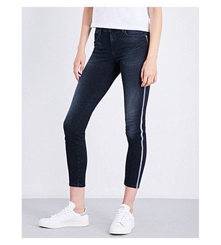 CALVIN KLEIN Embroidered skinny mid-rise jeans (Blackwater+embro