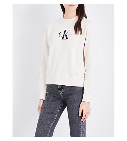 CALVIN KLEIN Logo-print cotton-jersey sweatshirt (Cream