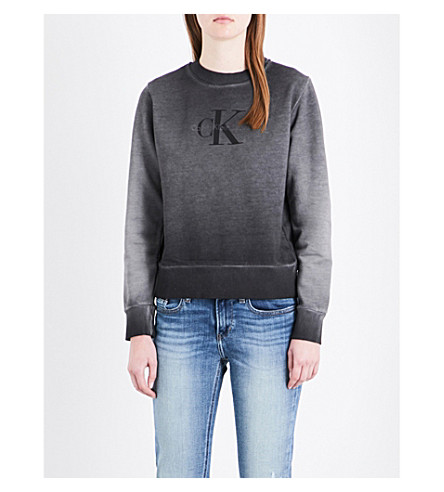 CALVIN KLEIN Logo-print cotton-jersey sweatshirt (Faded+black