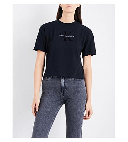 CALVIN KLEIN Teco-11 True Icon cotton-jersey T-shirt (Ck+black
