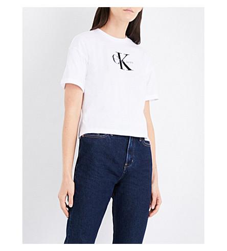 CALVIN KLEIN Teco-11 True Icon cotton-jersey T-shirt (Bright+white
