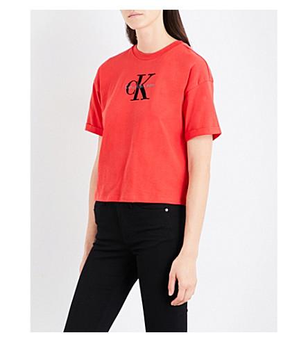 CALVIN KLEIN Teco-11 True Icon cotton-jersey T-shirt (Flame+scarlet