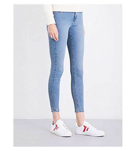 CALVIN KLEIN Skinny cropped high-rise jeans (Bison+blue