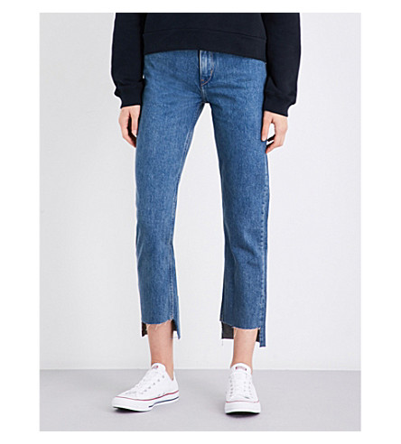 CALVIN KLEIN Stepped-hem straight cropped high-rise jeans (Rugged+blue