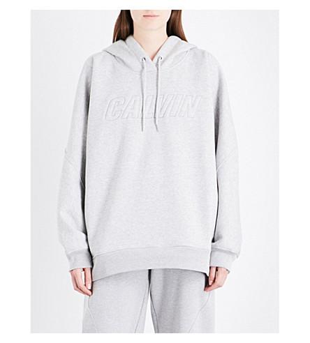 CALVIN KLEIN Logo-embroidered cotton-jersey hoody (Light+grey+heather