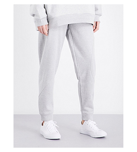 CALVIN KLEIN Skinny mid-rise cotton-jersey jogging bottoms (Light+grey+heather