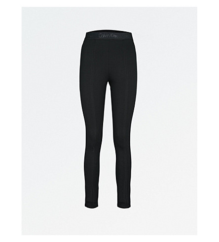 CALVIN KLEIN High-rise stretch-jersey leggings (Ck+black