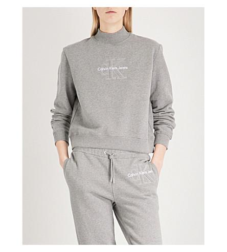 CALVIN KLEIN 标志羊毛衬里的棉 jersery 运动衫 (中 + 灰 + 希瑟