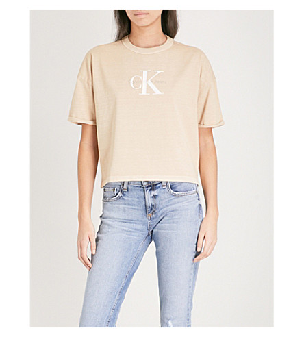 CALVIN KLEIN True Icon cotton-jersey cropped top (Silver+mink