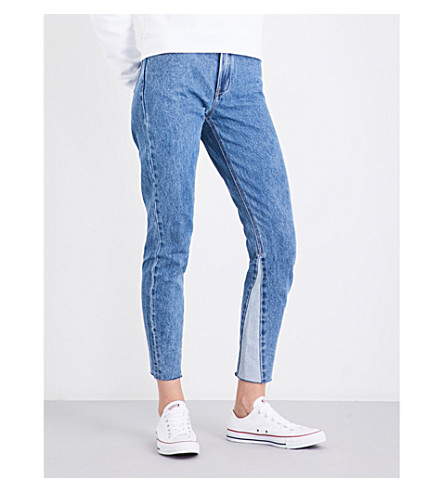 CALVIN KLEIN Frayed-hem slim cropped high-rise jeans (Light+stone