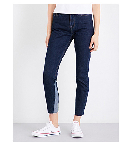 CALVIN KLEIN Frayed-hem slim cropped high-rise jeans (Dark+stone
