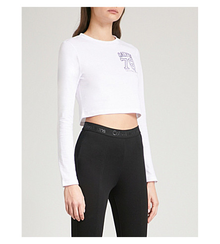 CALVIN KLEIN Core 78 cotton-jersey cropped top (Bright+white